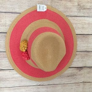 Pink and Tan Floppy Beach Hat